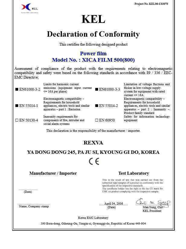 Rexva karbon film ısıtıcı kalite belgeleri