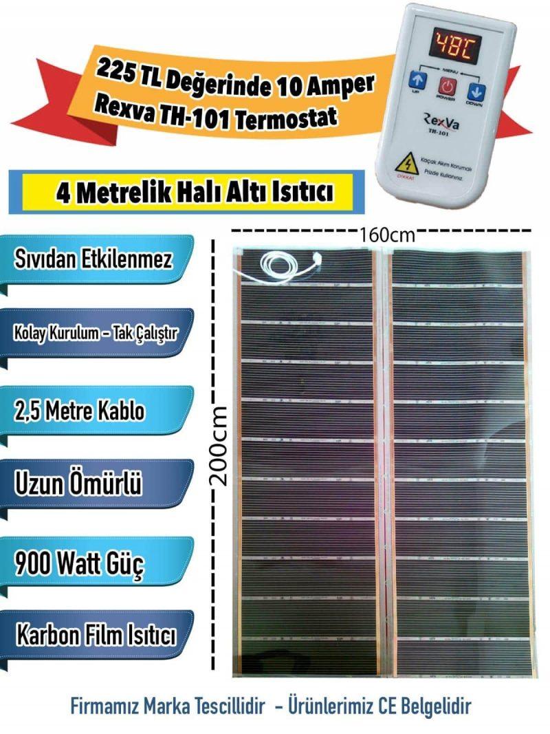 Termostatlı 4 Metrelik Halı Altı Isıtma (160x200cm)